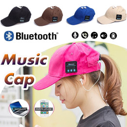Wholesale Iphone Ear Caps - 5 Colors Bluetooth Music Earphone Hat Baseball Caps Sunhat With Bluetooth Travel Sports Bluetooth Headset Stereo Headphone Free DHL