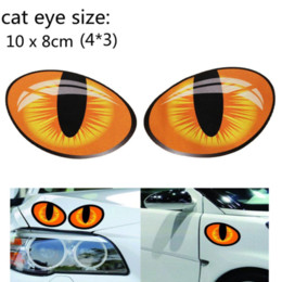 Wholesale Vinyl Truck Graphics Window - Pair 3D Funny Reflective Cat Eyes Car Stickers Truck Head Engine Rearview Mirror Window Cover Door Decal Graphics 10 x 8cm