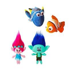 Wholesale Toy Clown Dolls - Hot Sale 2pcs Lot Movies Cartoon Plush 23cm Poppy Branch Trolls & 20CM Clown fish Stuffed Toy Doll For Baby Best Gifts Wholesale