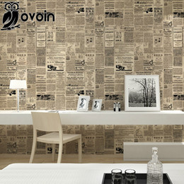 Wholesale Newspaper Letters - Wholesale- Vintage English Letter Wall Paper Newspaper Wallpaper Newsprint Paper Roll For Dorm,Living Quarters Decor Black on Cream Beige