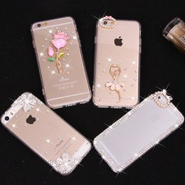 Wholesale Diamond Cover Case Crystal S3 - Rhinestone diamond bling cover case for Iphone 6 5S 4 7 plus Samsung S3 S4 S5 mini S6 edge crystal phone TPU cover by free shipping
