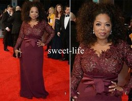 Wholesale Oprah Dresses - Oprah 2017 Winfrey Burgundy Long Sleeves Sexy Mother of the Bride Dresses V-Neck Sheer Lace Sheath Plus Size Celebrity Red Carpet Gowns Sale