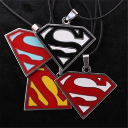 Wholesale Necklace For Men S - The Avengers Super Man S Logo Pendant Necklaces Stainless Steel Necklaces & Pendants Leather Chain Necklace For Gift