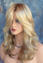 Wholesale Curly Natural Wig - Hot Middle Length Natural Wavy Synthetic Wigs 2017 Fashion Costume Hair Wigs Charming Curly Blonde Wigs for Women Heat Resistant