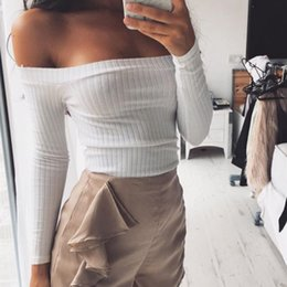 Wholesale Sexy Gril - Wholesale- European Style Sexy Slash Neck White T-shirt Women Cropped Tops Autumn Long Sleeved Halter Top Gril Off the Shoulder T Shirt
