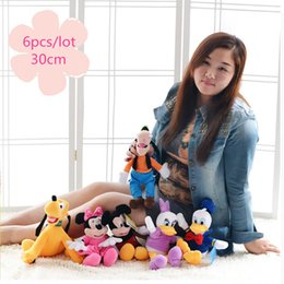 Wholesale Pluto Plush - Wholesale- 6pcs set 30cm Mickey and Minnie Mouse,Donald duck and daisy,GOOFy dog,Pluto dog,Plush Toys Funny Toy For Kid Christmas Gift