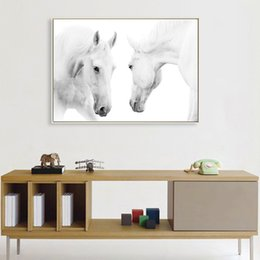 Wholesale White Horse Paintings Modern Canvas Prints Animal Wall Arts Horses For Home Decoration Gift Wall Art