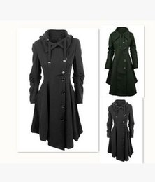 Wholesale Thin Overcoat - Winter Women Long Woolen Blends Coat Dress Fashion Large size irregular hem Trench Coat Slim was thin Thicken Overcoat Windbreaker