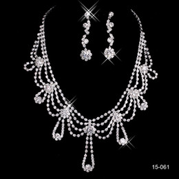 Wholesale Earring White - 2016 New Jewelry Necklace Earring Set Cheap Wedding Bridal Prom Cocktail Evening Dresses Rhinestone 15-061 In Stock Free Shipping