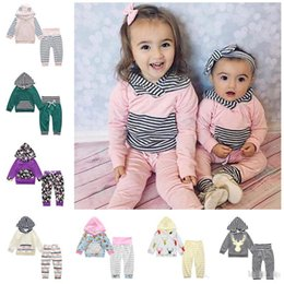 Wholesale Unisex Kids Hoodie - 2017 Kids Clothing Set Stripe Print Baby Clothes Boys Girls Hoodie Pants Boutique Children Fashion Spring Autumn Infant Toddler Outfits