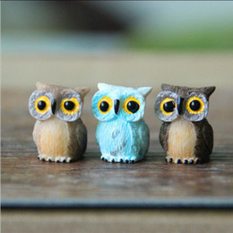 Wholesale Artificial Birds - Artificial Mini Cute Owl Birds Dolls Fairy Garden Miniatures Gnome Moss Terrarium Decor Resin Crafts Bonsai Home Decor for DIY