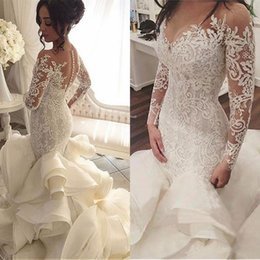 vestido de noiva 2017 Vintage Wedding Dresses with Sheer Long Sleeves Mermaid Appliques Lace Tulle Bridal Gowns Coupons