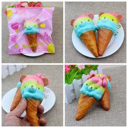 Wholesale Panda Bears Toys - Jumbo Panda 13cm kawaii squishy Colorful Rilakkuma Yummy Bear Ice cream Super Slow Rising Phone Straps Bread Cake Toys Gift