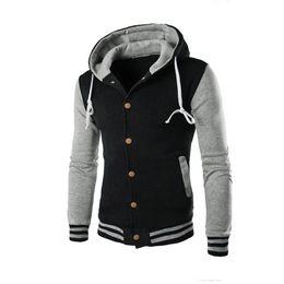 Wholesale Men Stylish Hoodies - Wholesale- New Hooded Baseball Jacket Men 2016 Slim Hoodie Warm Mens Slim Fit Varsity Jacket Brand Stylish College Jacekt Veste Homme