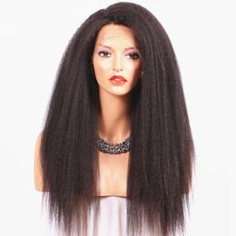 Wholesale Coarse Wigs - 130-180% Density Italian Coarse Yaki 360 Lace Frontal Wigs Brazilian Virgin Human Hair Kinky Straight 360 Full Lace Band Wig For Black Women