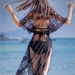 Wholesale Swimsuit Bikinis Sheer - Newest 2017 Women Crochet Swimsuit Cover-up Long Black Maxi Sheer Lace Beach Dress Tunic Robe bikini 3 pcs in a set free shipping PS3022