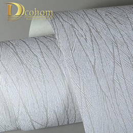 Wholesale Textured Paper - Wholesale-Solid Color Tree Leaf Textured Wallpaper For Walls 3 D Striped Wall paper Modern Home Decor Living room Grey Wall covering R530