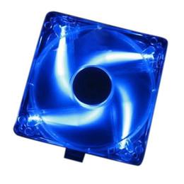 Wholesale led computer case fans - Wholesale- GTFS Hot Computer PC Case Blue LED Neon Fan Heatsink Cooler 12V