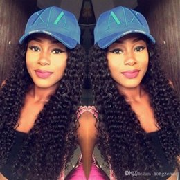 Wholesale Large Cap Remy Wigs - Brazilian Pre Plucked Lace Frontal Kinky Curly 6-24inch Natural Hairline Peruvian Remy Human Hair With Cap And Elastic Straps Knots