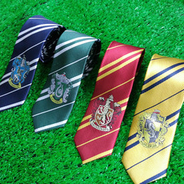 Wholesale Christmas Novelties Wholesale - High quality Harry School Gryffindor Slytherin Ravenclaw Hufflepuff Ties Badge Neck Ties for Potter Fans Christmas Gift Drop shipping