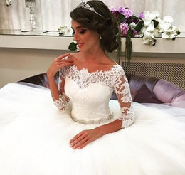 Wholesale Lovely Bride - Custom Made Lovely Princess Ball Gown Bride Dresses 2016 Three Quarter Sleeves Boat Neck Beaded Lace Wedding Dress Wedding Dresses