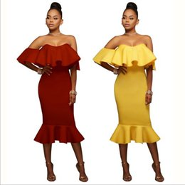 Wholesale Lady Dress Tube - 2017 Sexy Tube Top Dress Ruffled New Women Slim OL Pencil Beautiful Ladies Fishtail Skirts Club Wear Yellow Burgundy
