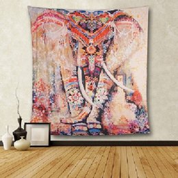 Wholesale Jacquard Woven Shawl - 210x150cm,150x130cm Indian Tapestry Psychedelic Bohemian Digital Printing Elephant Mat Shawl Wall Hanging Decorative Tapestry Picnic Blanket