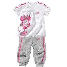Wholesale Clothes Style Trousers - 2017 new Spring Autumn Children Clothing Sets Boys girls clover leaf letters Sports suits NEW children 2 Color Long sleeve T-shirt+trousers