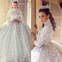 Wholesale Gorgeous Beaded Muslim Wedding Dress - Gorgeous Rhinestones Muslim Wedding Dresses High Neck Long Sleeve Applique Lace Ball Gown Wedding Dresses Glittering Beaded Bridal Dresses