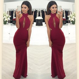 Wholesale Out Side Lights - Burgundy Sexy Mermaid Prom Dresses 2018 New Halter Neckline Hollow Out Cutaway Side Formal Long Evening Gowns Cheap Dress BA6616