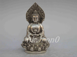 Wholesale Vintage Brass Bucket - Exquisite Chinese Collection of Vintage Old-type Manual Tibetan Silver Buddha Statue