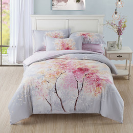 Wholesale Duvet Covers Cherry - Cherry Blossom Tree Bedding Set Queen King Size Bed Sheets Duvet Cover Pillowcase 100% Brushed Cotton Thick Soft Textile Set