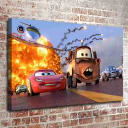 Wholesale Framing Oil Paintings - (No frame) Disney Cars two HD Canvas print Wall Art Oil Painting Pictures Home Decor Bedroom living room kitchen Decoration
