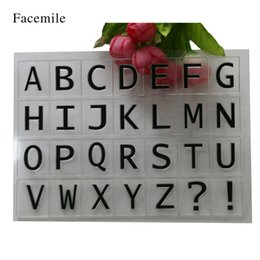 Wholesale Stamps Albums - Wholesale- Facemile 2000Y DIY Letter Design Clear Stamp Transparent Rubber Alphabet Scrapbooking Photo Album YS002 Gift