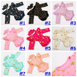 Wholesale snowflake clothing baby - New Girls gilding Romper headband Set Baby girl Ruffle Long Sleeve Cotton Bodysuit star snowflake print Clothes Pom Pom Outfit 0-3T