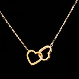 Wholesale Stainless Steel Charms Pendants - Wholesale 10pcs lot Fashion Stainless Steel Jewelry Pendant Double Hearts Necklace Gold Chains Choker Necklaces For Women Wedding Jewellery