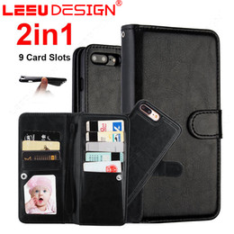 Wholesale Wholesale Magnetic Cards - 9 card slots pockets Wallet Leather Case Cover 2 in 1 Magnetic Detachable Removable Phone case for iphone x 8 7 6 plus S8 plus note 8