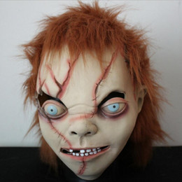 Wholesale Pvc Head Masks - Wholesale New Adult Horror Scary Head Mask Chucky Halloween Costume Theater Prop Novelty For Halloween Free shipping