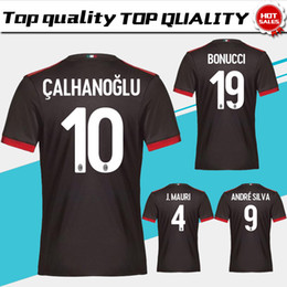 Wholesale Milan Shorts - 2018 AC Milan third Soccer Jersey 17 18 AC Milan Soccer Shirt Customized #10 CALHANOGLU #9 ANDRE SILVA #19 BONUCCI football uniform Sales