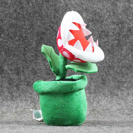 "Wholesale Mario Plant Plush - New Piranha Plant Super Mario Bros Plush Dolls Stuffed Animals Toys For Child Best Gift (3pcs Lot   Size: 8"" 20cm )"