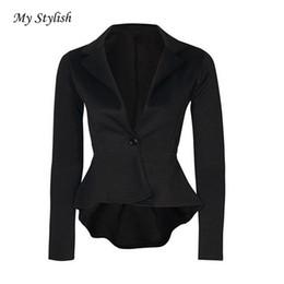 Wholesale Cheap Wholesale Jackets Coats - Wholesale- Women Coat 2017 New Fashion Cheap 1PCS Women Ladies Crop Frill Shift Slim Fit Peplum Jacket Coat Black Red High Quality Dec 9