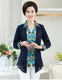 Wholesale Age Breast - Wholesale-2016 New Middle-Aged Women Fake Two-Piece Cardigan Long-Sleeved Turndown Collar Stitching Fashion Sweater Women Q1094