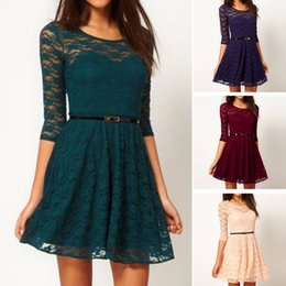 Wholesale Clubwear Party Mini Dress Lace - Fashion Women Lace Skirt Long Sleeve Ball Party Evening Dress Clubwear