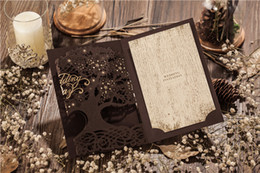 free engagement invitation cards Coupons - Wholesale- Free shipping 50sets lot Luxury Cutout Love Tree Wedding Invitations Cards Engagement Gatefold Invites Wedding Favors