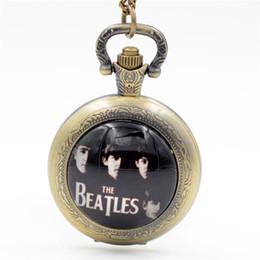 Wholesale Bronze Souvenirs - The Beatles Rock Band Black Silver Bronze Quartz Pocket Watch Pendant Necklace Men Watch Women Watch Gift Souvenir