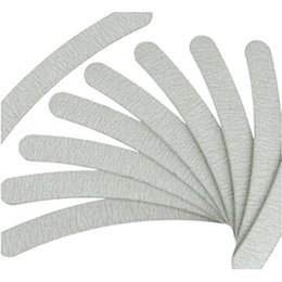 Wholesale Curved File - 10psc lot Grey Nail Files Sanding 100 180 Curve Banana for Nail Art Tips Manicure#ZH223