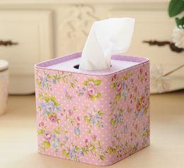 Wholesale Napkin Box Design - Wholesale- Free shipping!Pink Flower Design Facial Paper Case Iron Napkin Holder Metal Square Tissue Box Square metal case New!