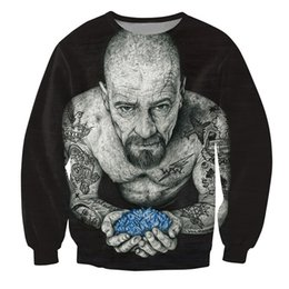 Wholesale Top Women Sleeve Tattoos - Wholesale-Women Men 3d Inked Heisenberg Crewneck Sweatshirt tattooed Breaking Bad Walter White Fashion Clothing Tops Jumper Outfits