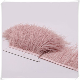Wholesale Wholesale Ostrich Feather Trim - 10yards lot pink white Long Ostrich Feather Plumes Fringe trim 10-15cm Feather Boa Stripe for Party Clothing Dress skrits Accessories Craft