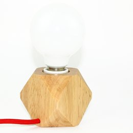 Wholesale Paint Light Bulb - Creative small size original wooden table light dimmable switch mini table lamp home decoration lighting E27 ceramic holder